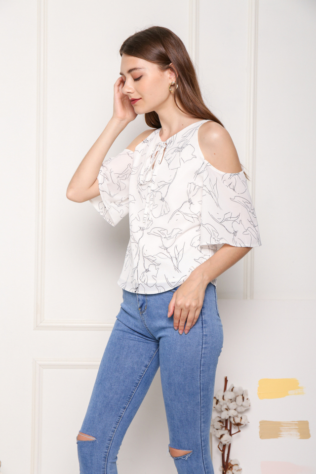 Keara Printed Cold Shoulder Top in White