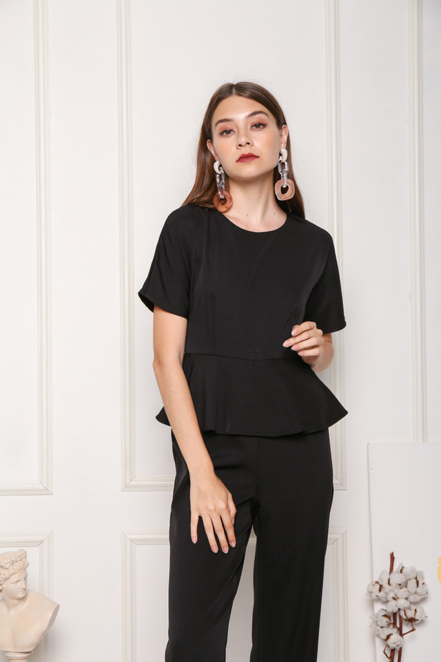 Raea Sleeved Overlay Peplum Jumpsuit in Black