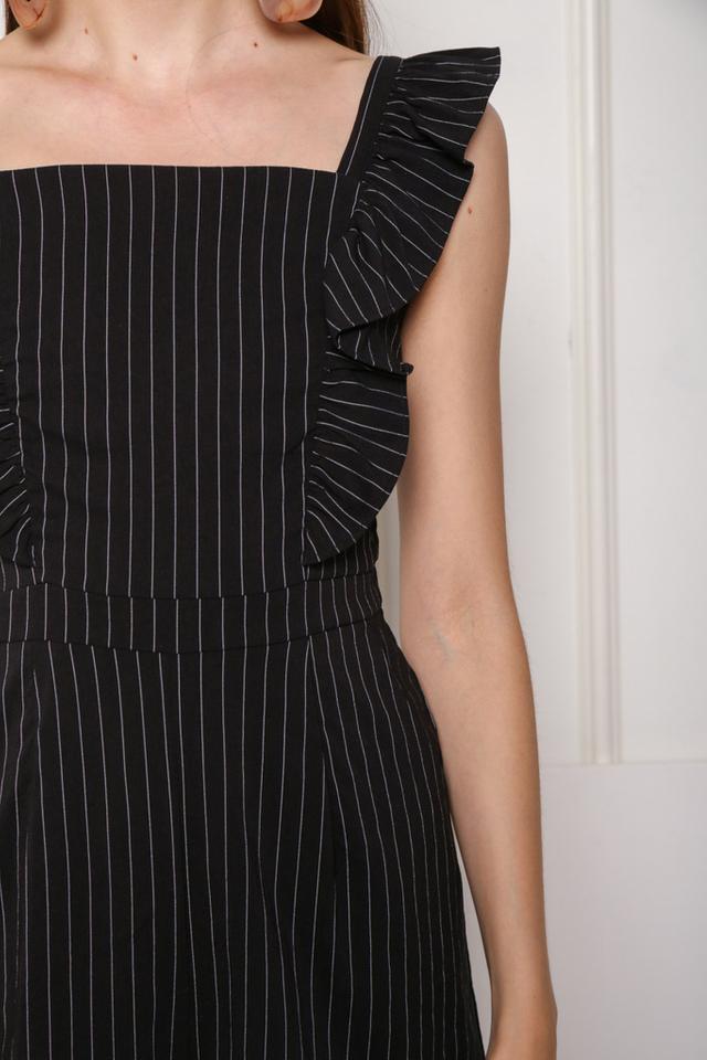 Karla Ruffles Pinstripe Romper in Black