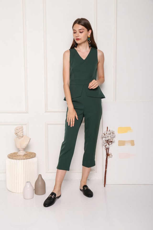 Shannelle Overlay Peplum Jumpsuit in Forest