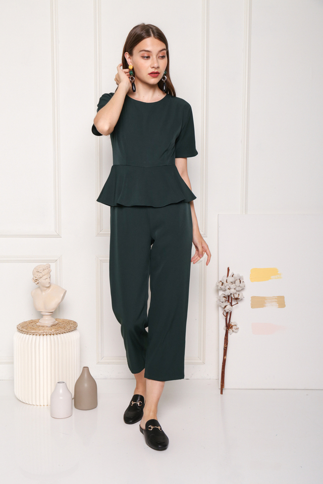 Raea Sleeved Overlay Peplum Jumpsuit in Forest