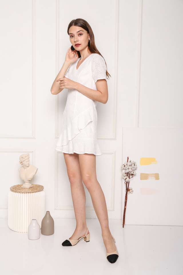 Dawna Ruffled Eyelet Dress in White