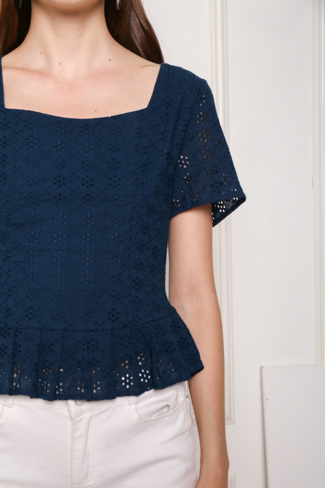 Hara Square Neck Eyelet Top in Teal
