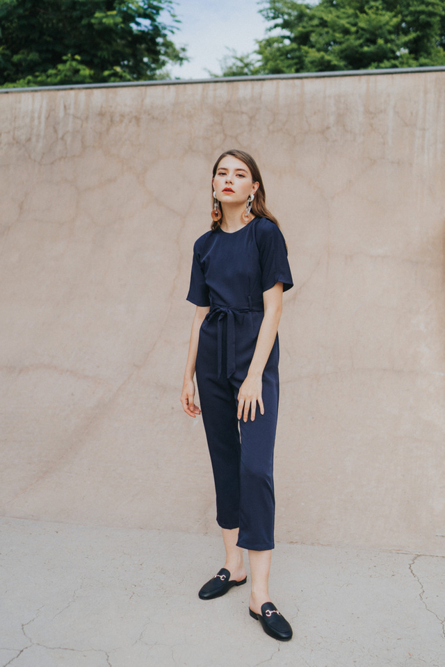 Brettlyn Classic Sash Jumpsuit in Navy