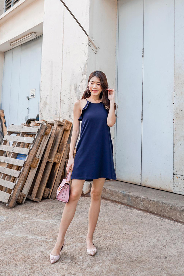 Yancey Ruffles Hem Dress in Navy