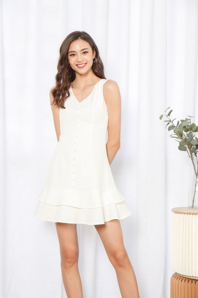 Loise Sleeveless Button Dress in White