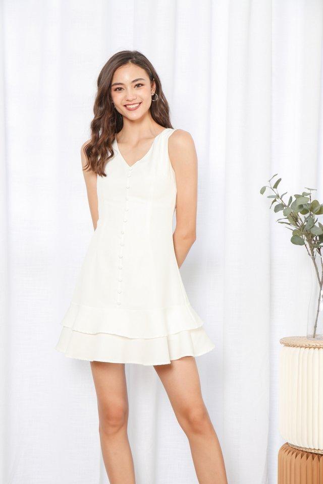 Loise Sleeveless Button Dress in White