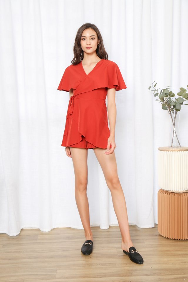 Katrice Wrap Romper in Rust
