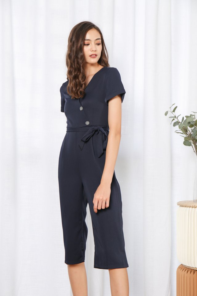 Quiana Button Jumpsuit in Navy