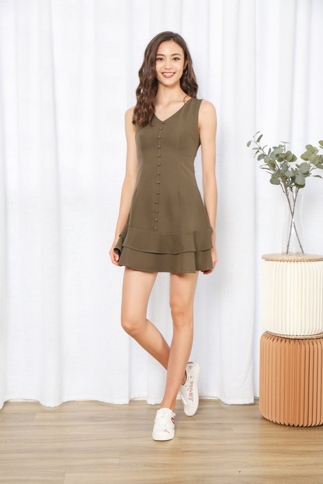 Loise Sleeveless Button Dress in Olive