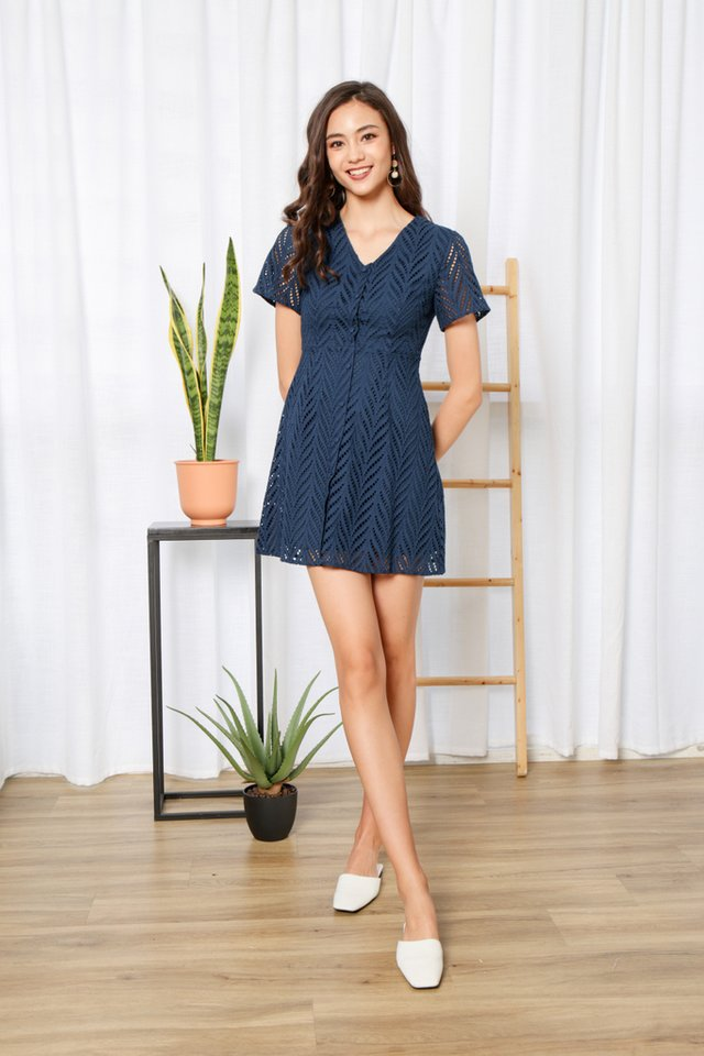 Keeley Premium Eyelet Button Dress in Teal