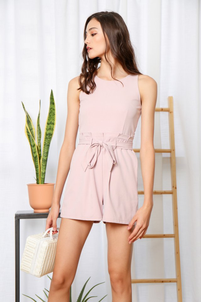 Kaila Paperbag Romper in Pink