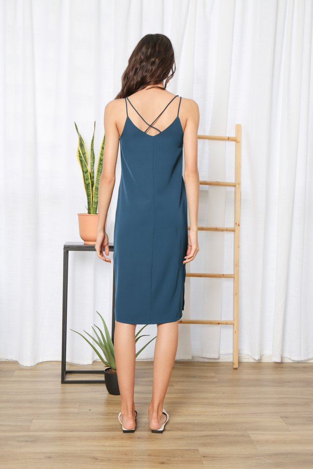 Krista Cross Back Midi Dress in Teal