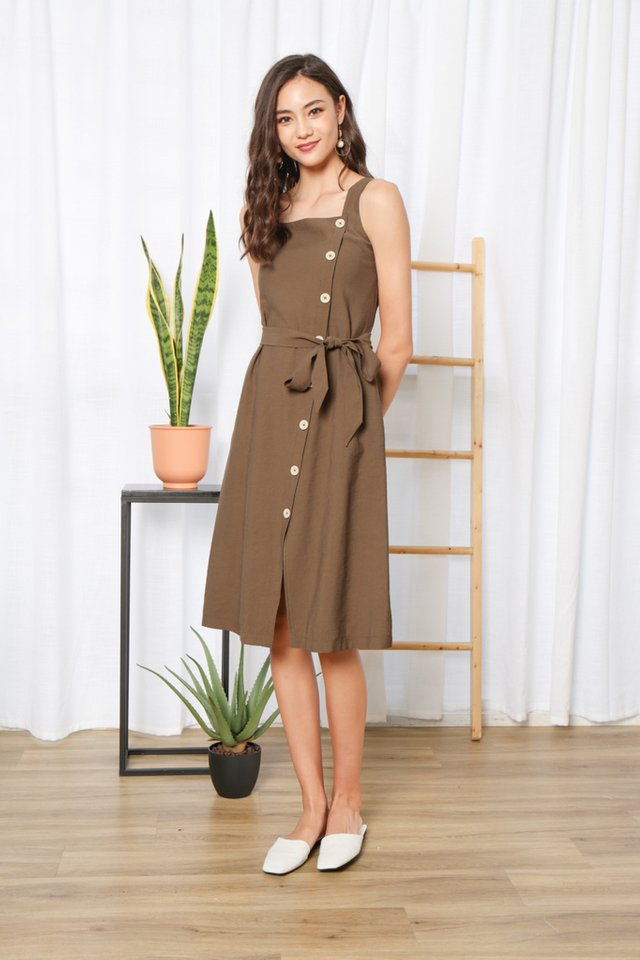 Floy Button Midi Dress in Olive