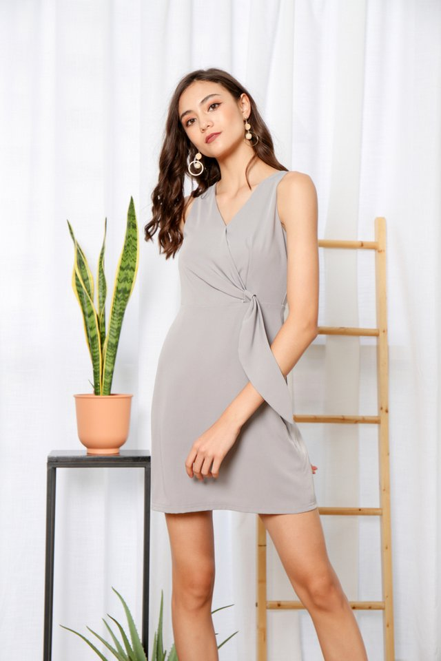 Jenise Side Knot Dress in Grey