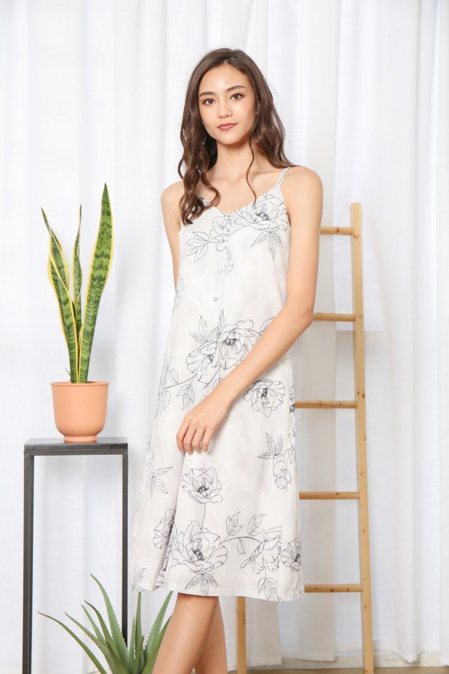 Willetta Floral Button Midi Dress in Grey