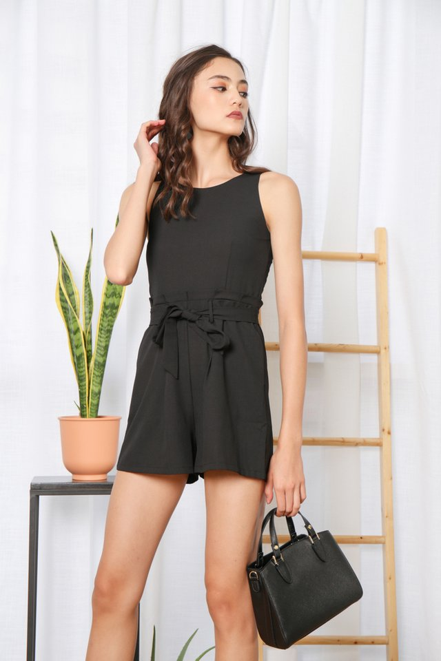 Kaila Paperbag Romper in Black