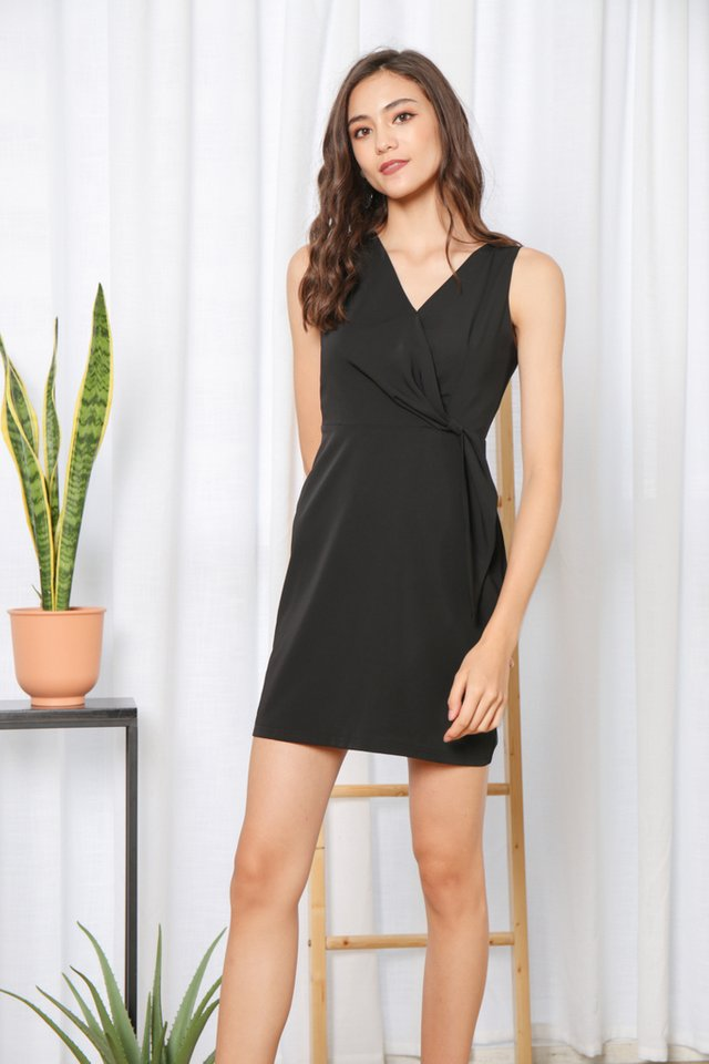 Jenise Side Knot Dress in Black