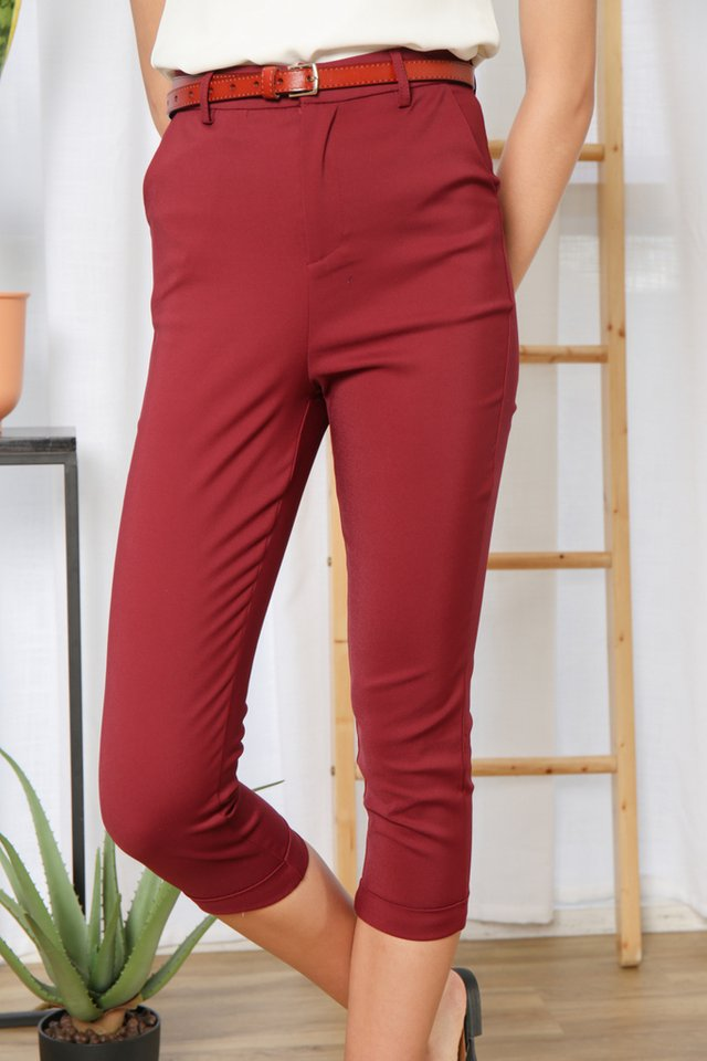 Ula High-Waisted Pants in Wine
