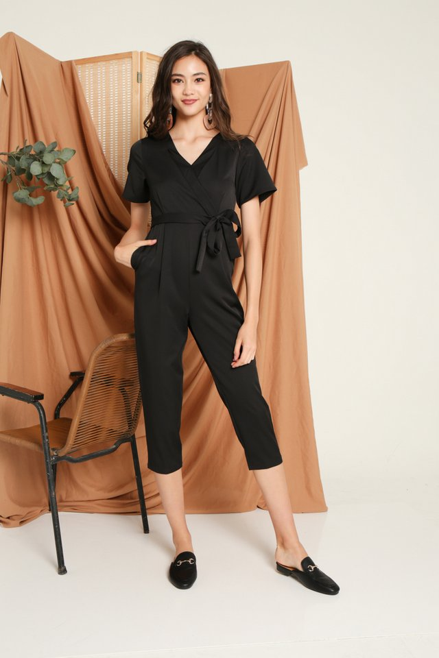 Deetta Wrap Jumpsuit in Black