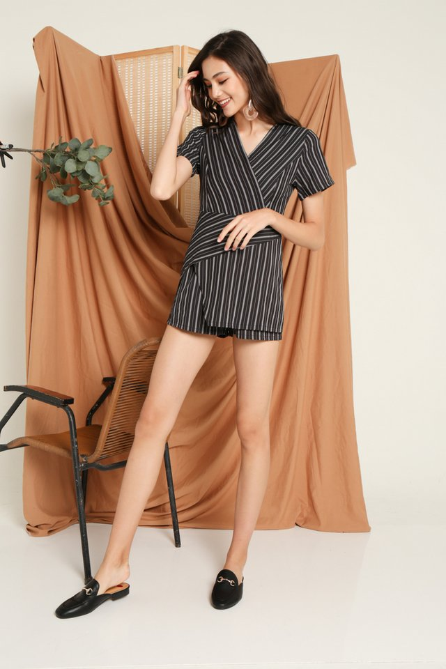 Helga Asymmetrical Romper in Black