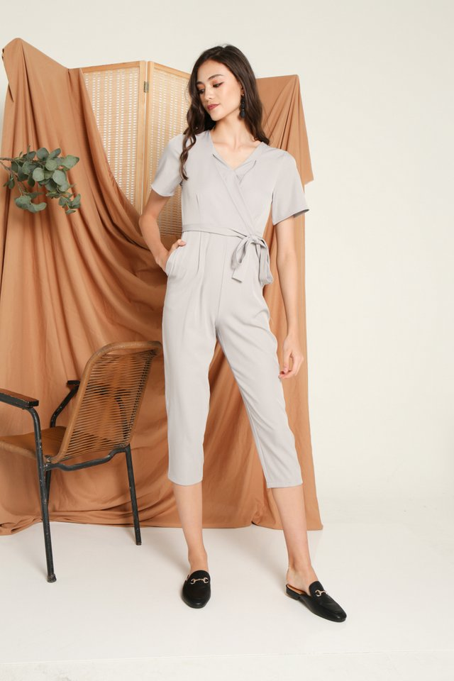 Deetta Wrap Jumpsuit in Grey