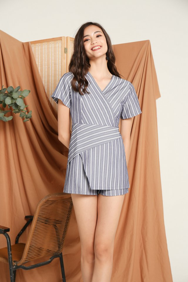 Helga Asymmetrical Romper in Blue