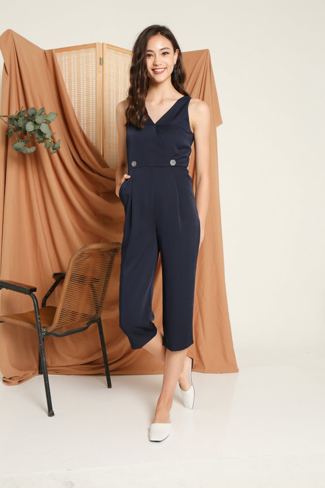 Charisse Button Jumpsuit in Navy