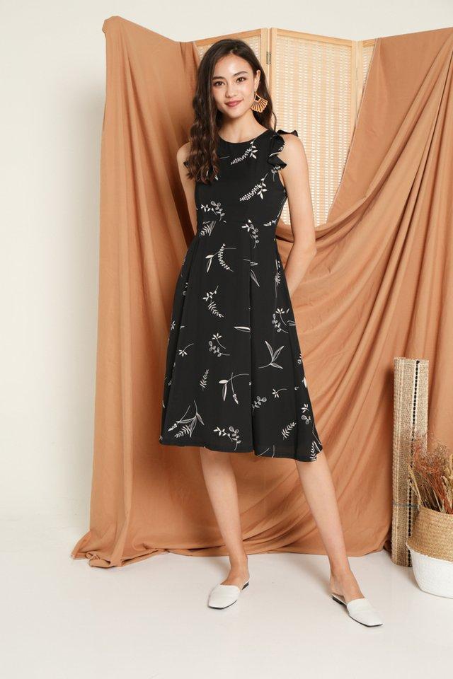 Penney Printed Ruffles Midi Dress in Black
