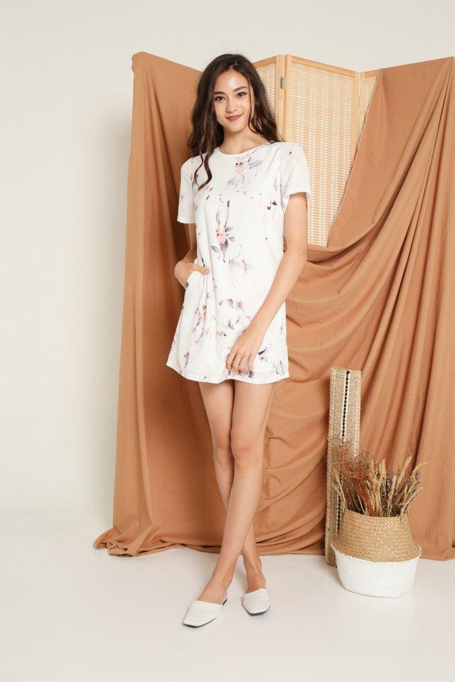Francesca Floral Shift Dress in White