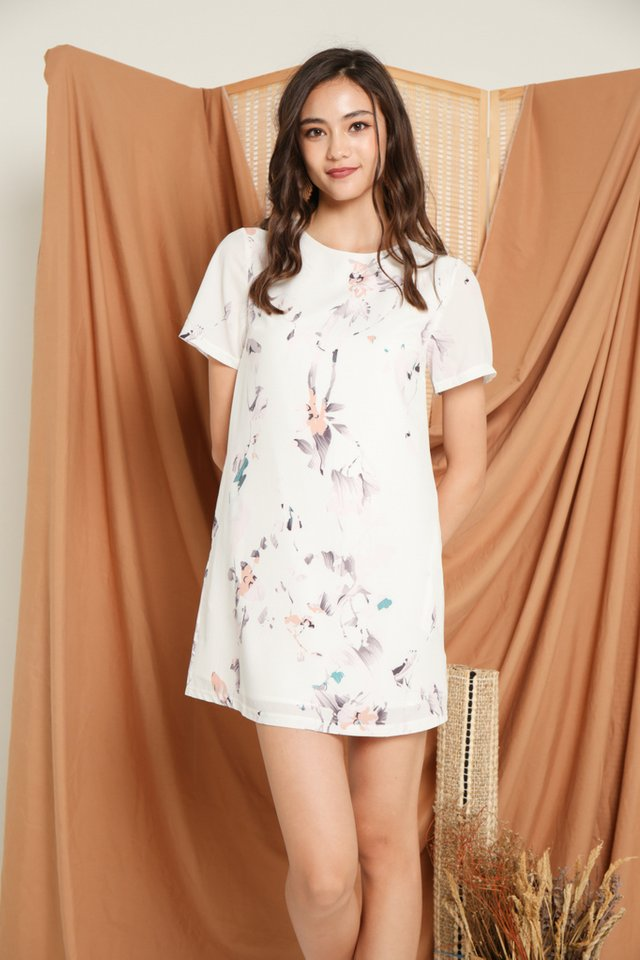 Francesca Floral Shift Dress in White