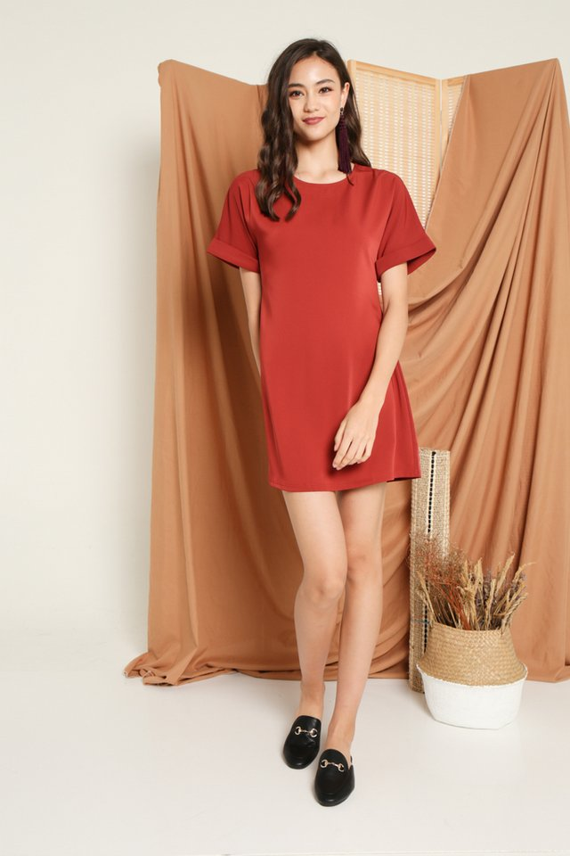 Olevia Tie-Front Shift Dress in Rust (XS)