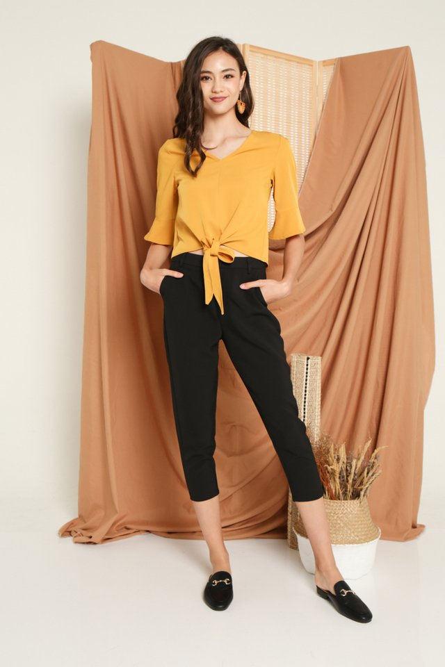 Glynda Tie-Front Top in Mustard