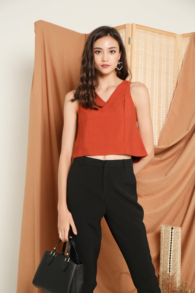 Sondra V-Neck Top in Rust