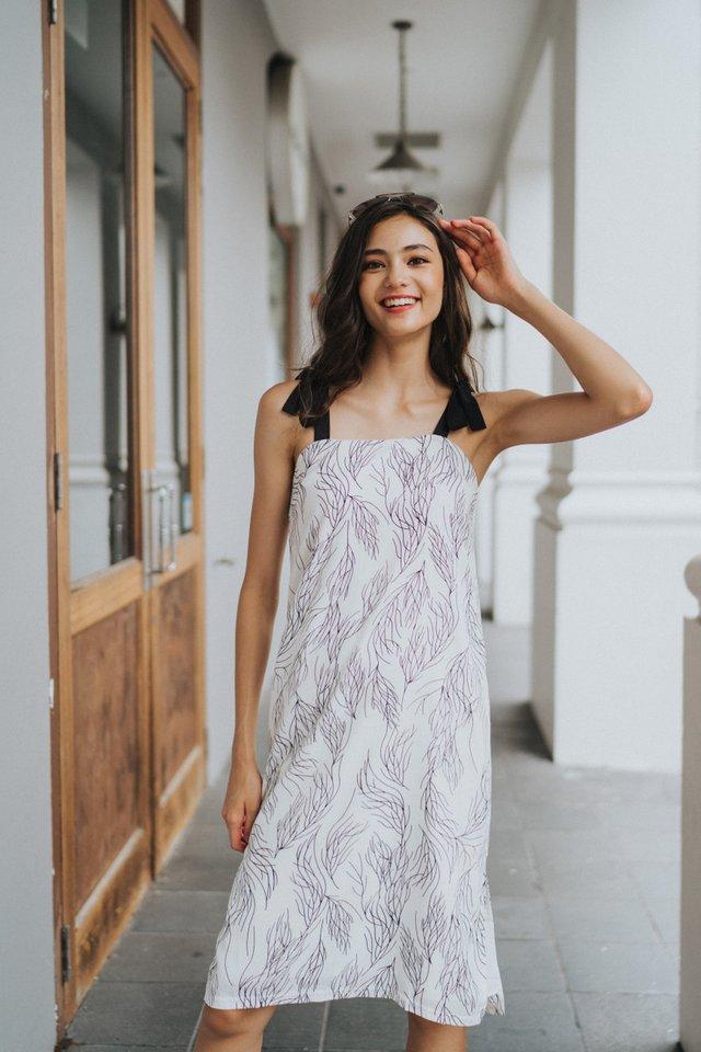 Charlette Printed Ribbon Midi Dress in White