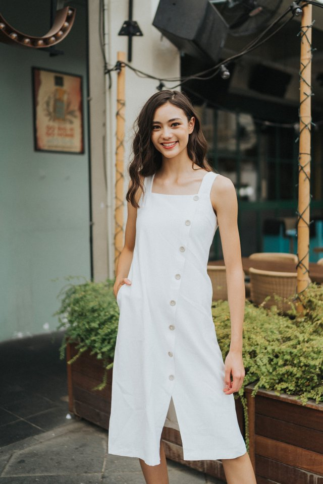 Floy Button Midi Dress in White