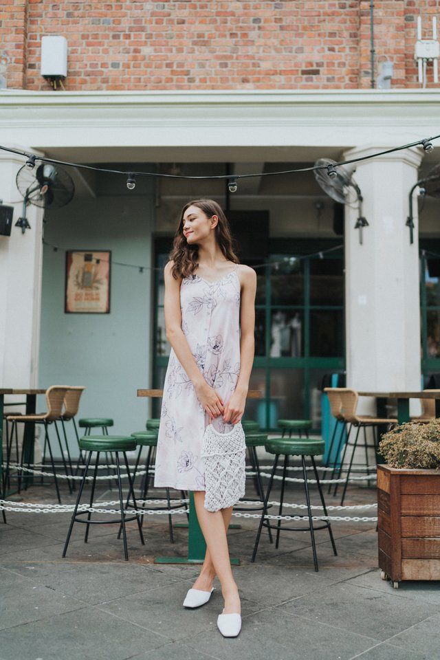 Willetta Floral Button Midi Dress in Pink