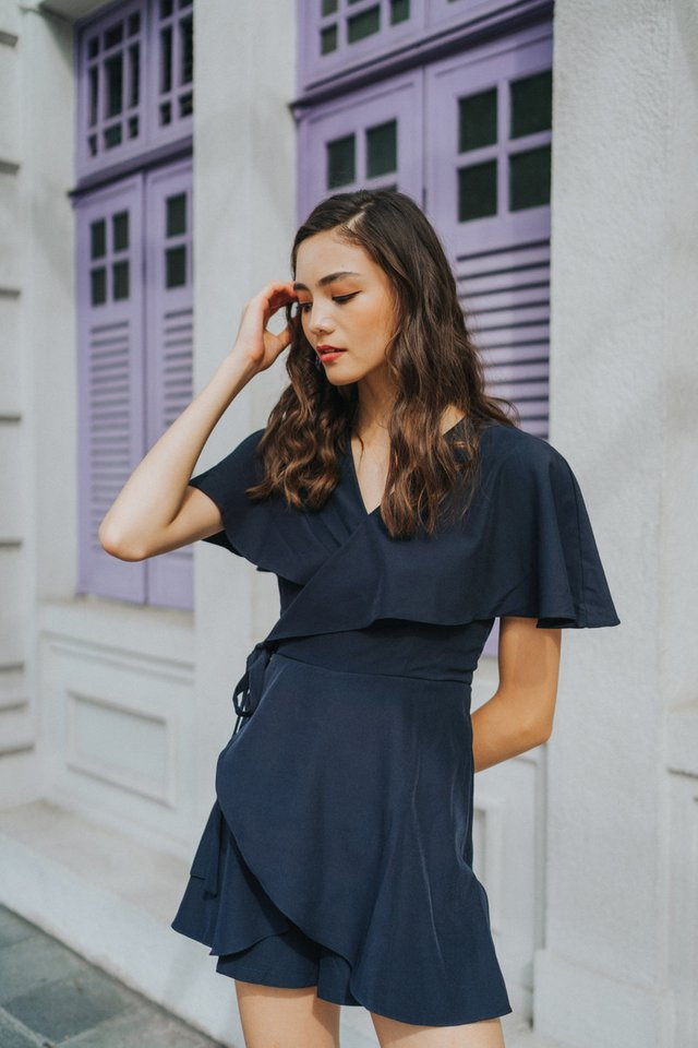 Katrice Wrap Romper in Navy