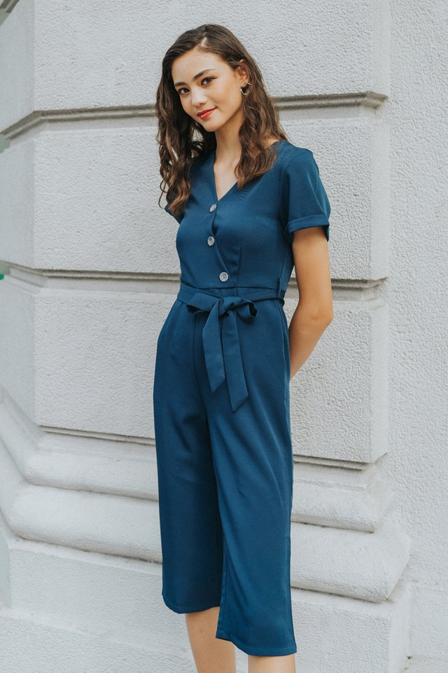 Quiana Button Jumpsuit in Teal