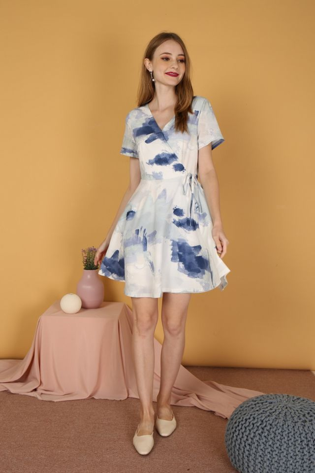 Gladyce Watercolour Skater Dress in Navy