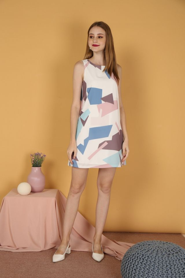 Bethea Geometric Trapeze Dress in Blue