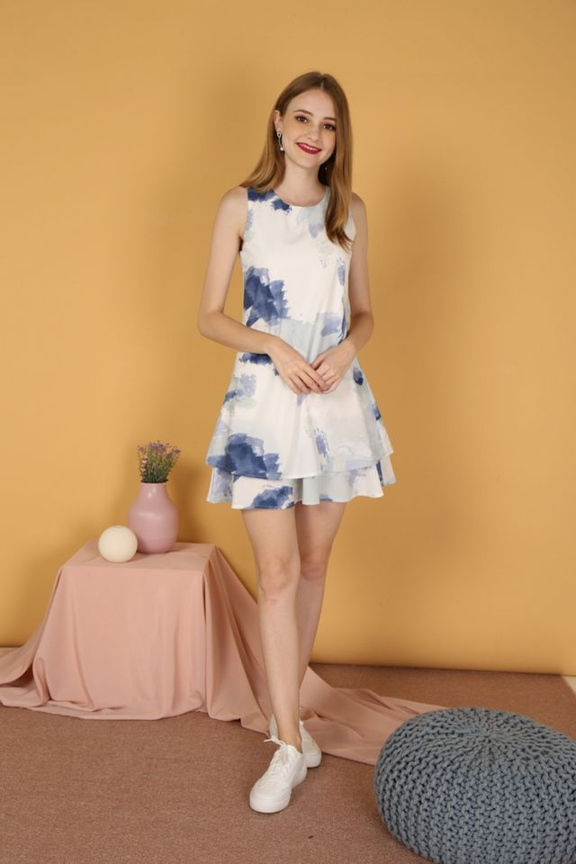 Fauna Watercolour Tiered Hem Dress in Navy