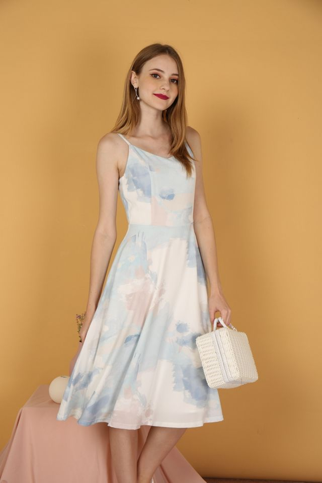 Danielle Watercolour Midi Dress in Light Blue