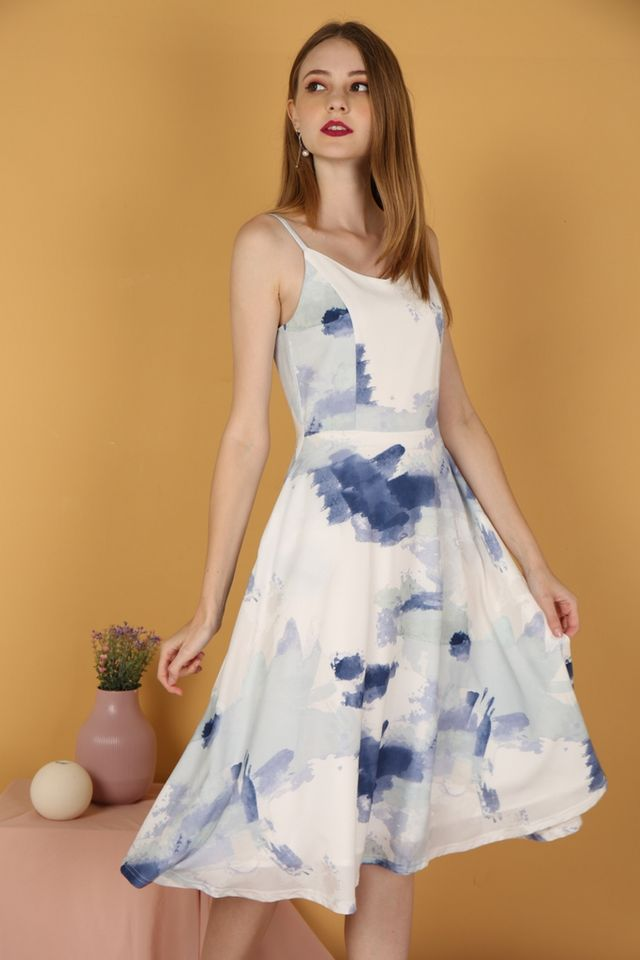 Danielle Watercolour Midi Dress in Navy