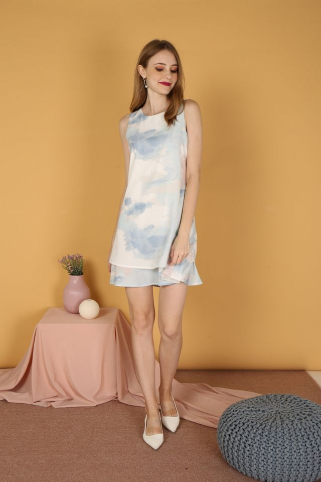 Fauna Watercolour Tiered Hem Dress in Light Blue
