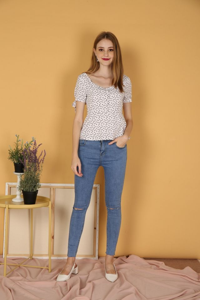 Adelle Heart Ribbon Top in White