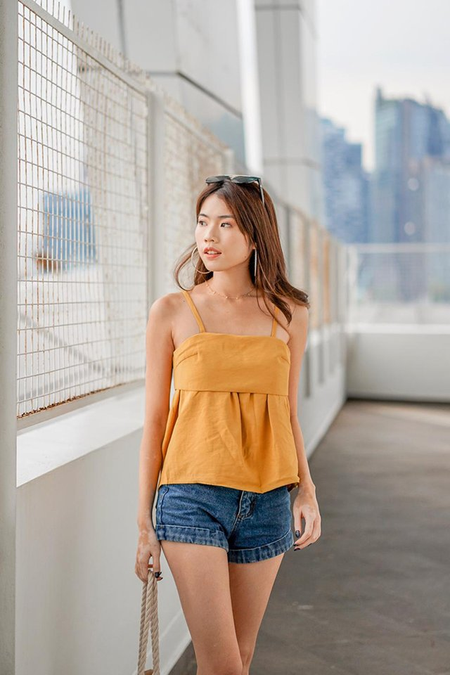 Nettie Overlay Top in Mustard