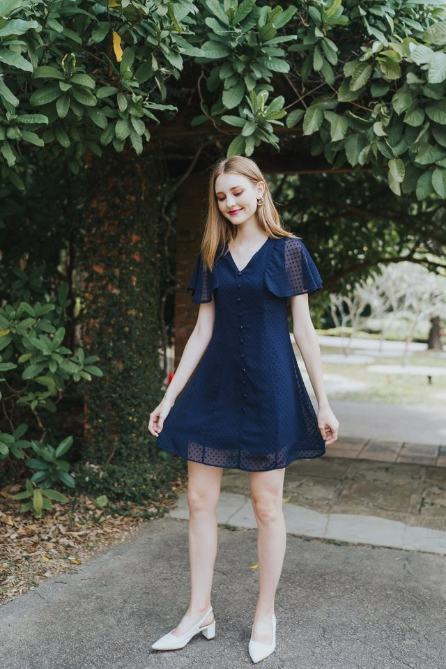 Maeve Swiss Dots Dress in Navy