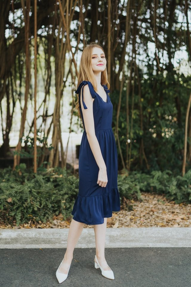 Thalia Dropwaist Midi Dress in Navy