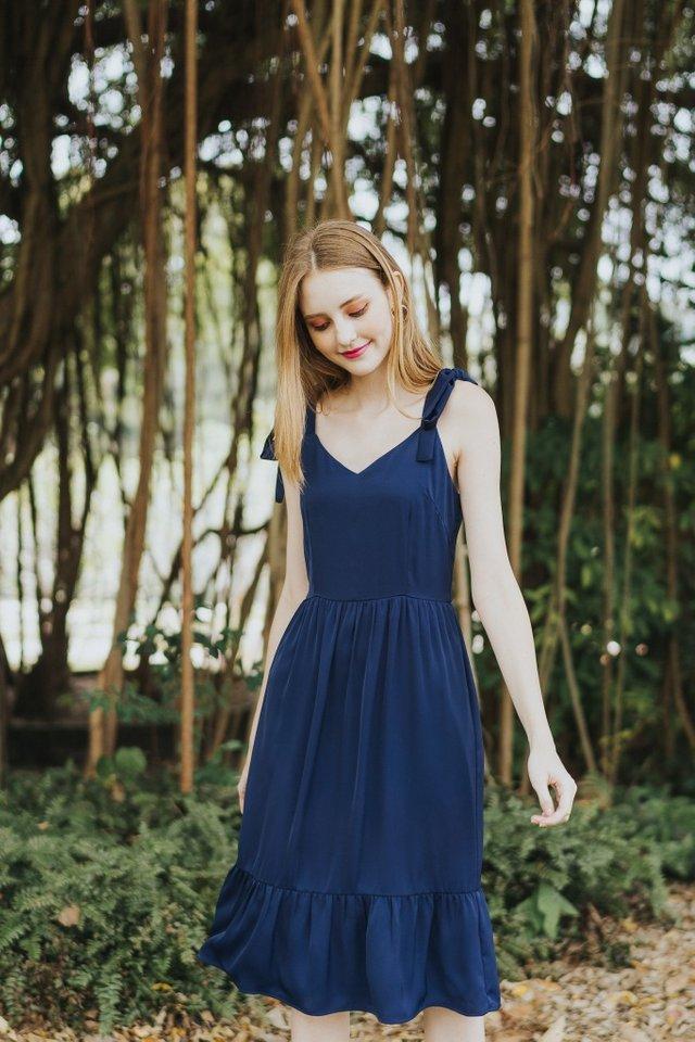 Thalia Dropwaist Midi Dress in Navy